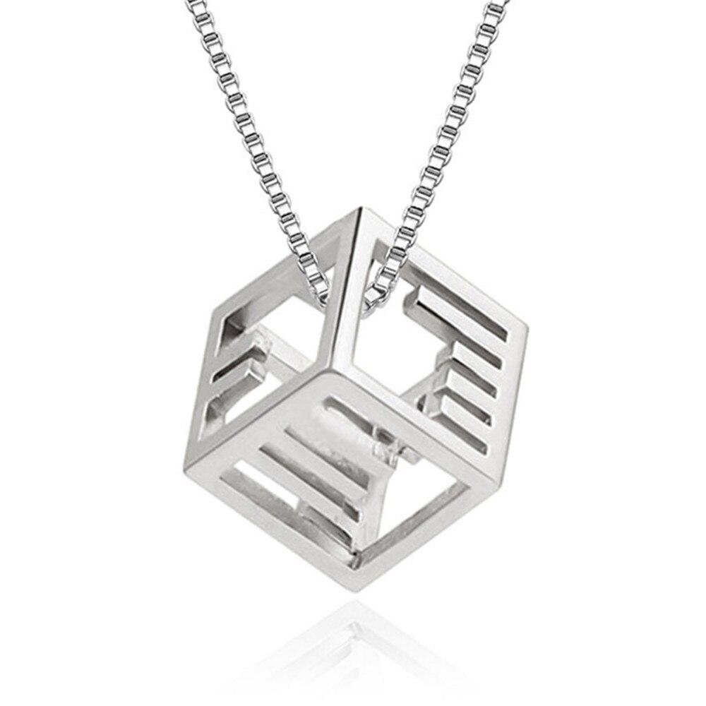 Fashion brand female jewelry Morse code necklace pendant personalized simple cube pendant female silver jewelry box chain 45CM ...