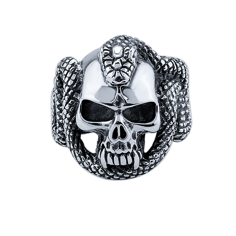 GAGAFEEL Snake Skull 925 Sterling Silver Punk Skull style Mens ring Thai Silver Fine Jewelry free shipping big sizes LHYR33