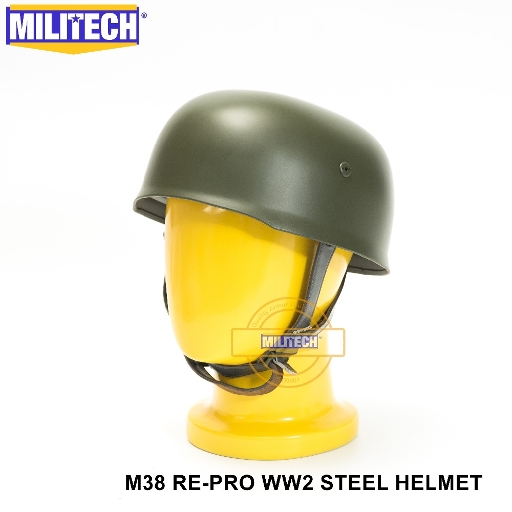 MILITECH OD WW2 German M38 Steel Helmet WW II M38 Green German Paratroop Helmet Genuine Leather