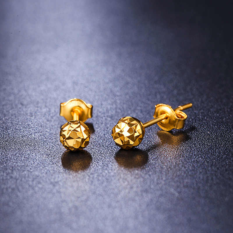 087de4b7d ... 18k Gold Earrings Yellow Rose White New Fashion Trendy Women Ball Small  Female Engaged Jewelry 2017 ...
