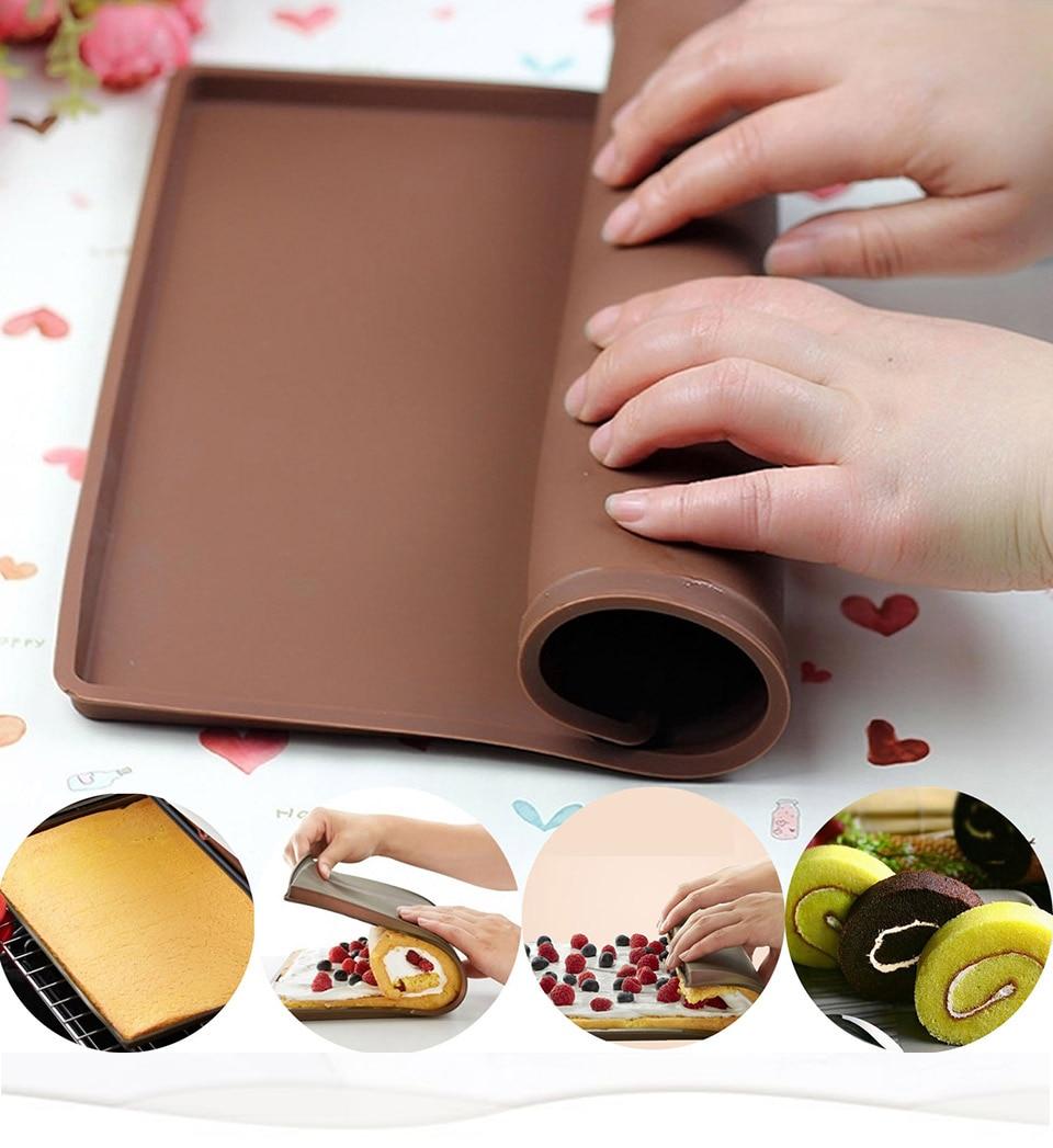 Pastry Tools Baking Mat Non-stick Swiss Roll Baking Mat Food Grade Silicone Oven Mat Cake Roll Mat Baking Macaron Pads (1)