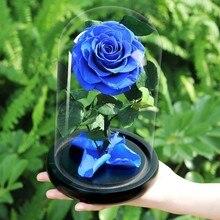 Красавица и Чудовище искусственные цветы для украшения красная вечная роза в стеклянном куполе Валентина рождественский подарок Прямая поставка