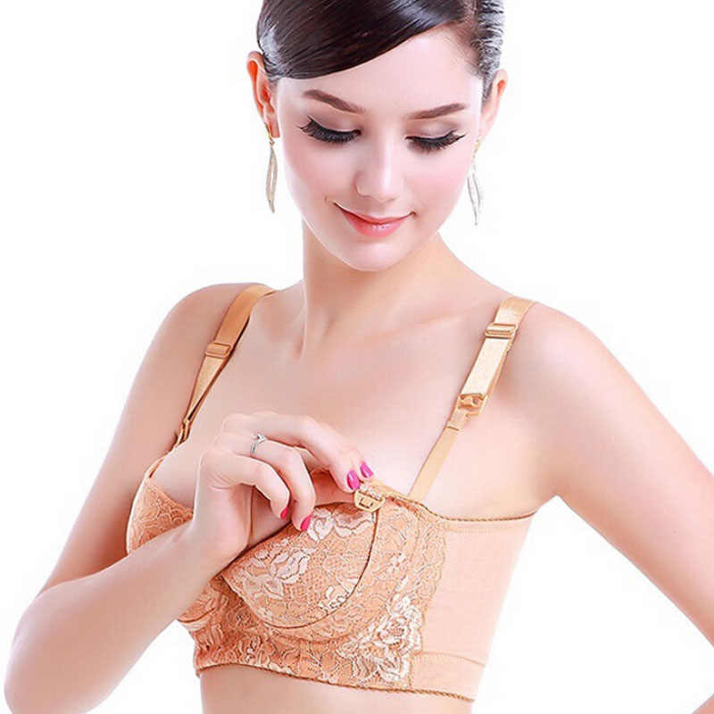 7eaaa10a8a8f5 Lace Maternity Nursing Bra Push Up Front Opening Breast Feeding For Pregnant  Women Clothes Flower Lace