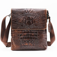 Brand Alligator Genuine Cow Leather Vintage Men's Messenger Bag Cross Body Shoulder Bags Casual&Business Zipper Pack For Ipad