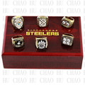 One set (6PCS) 1974 1975 1978 1979 2005 2008 Super Bowl Pittsburgh Steelers Championship Ring With Wooden Box Rings LUKENI