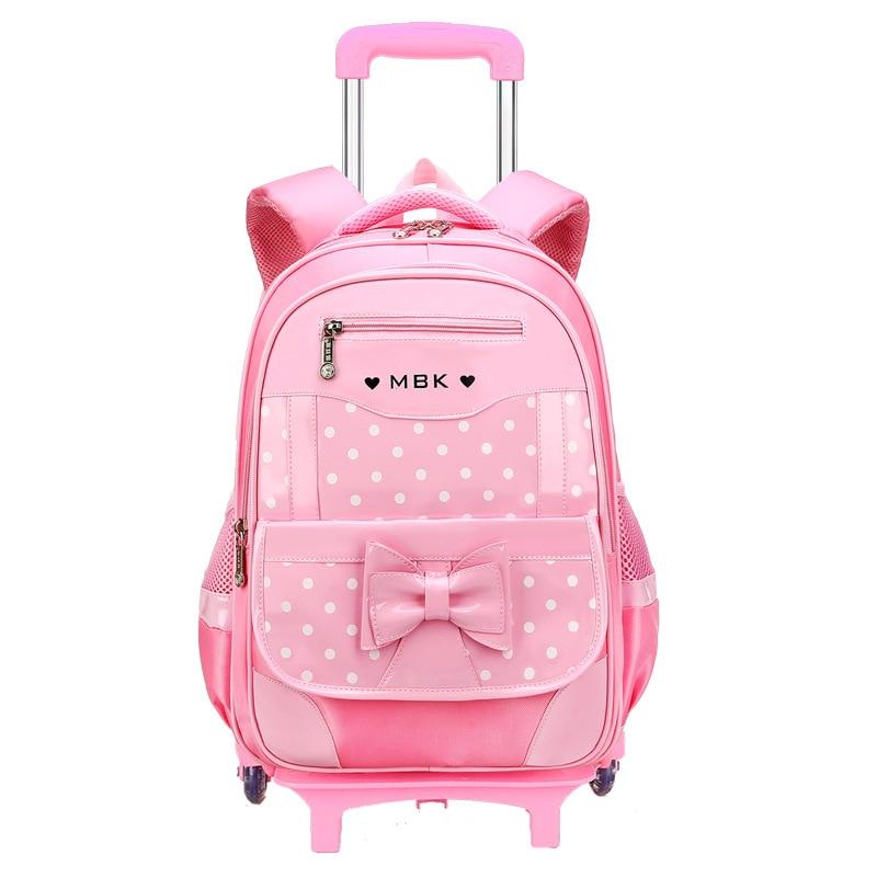 Children School Bags Kids Travel Rolling Luggage Bag Trolley School Backpack Girls Backpack Child Book Bag 2/6 Wheels Schoolbag
