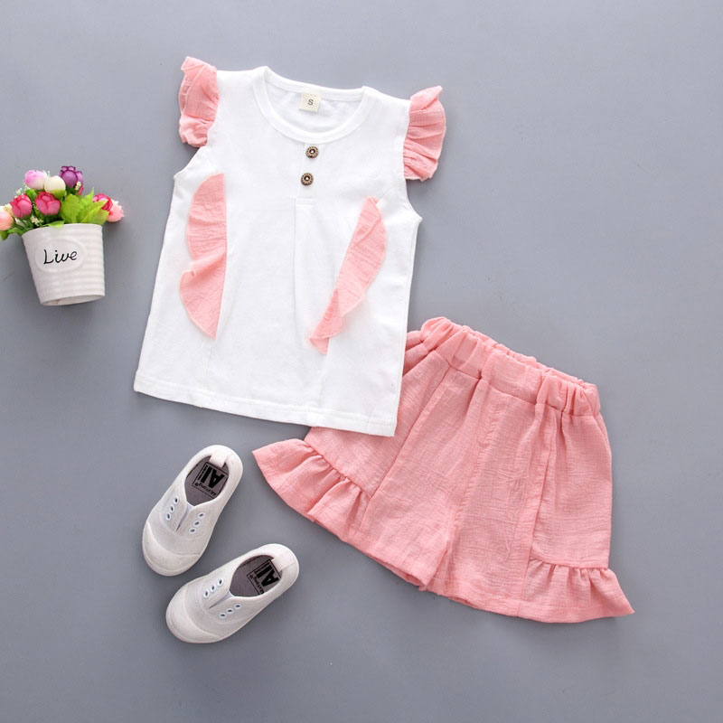Summer Top+ Pant 2pcs Infant Clothing Cartoon Suit Outfit Cute Casual Set Newborn Solid Sleeveless kids Baby Girl Set Clothes