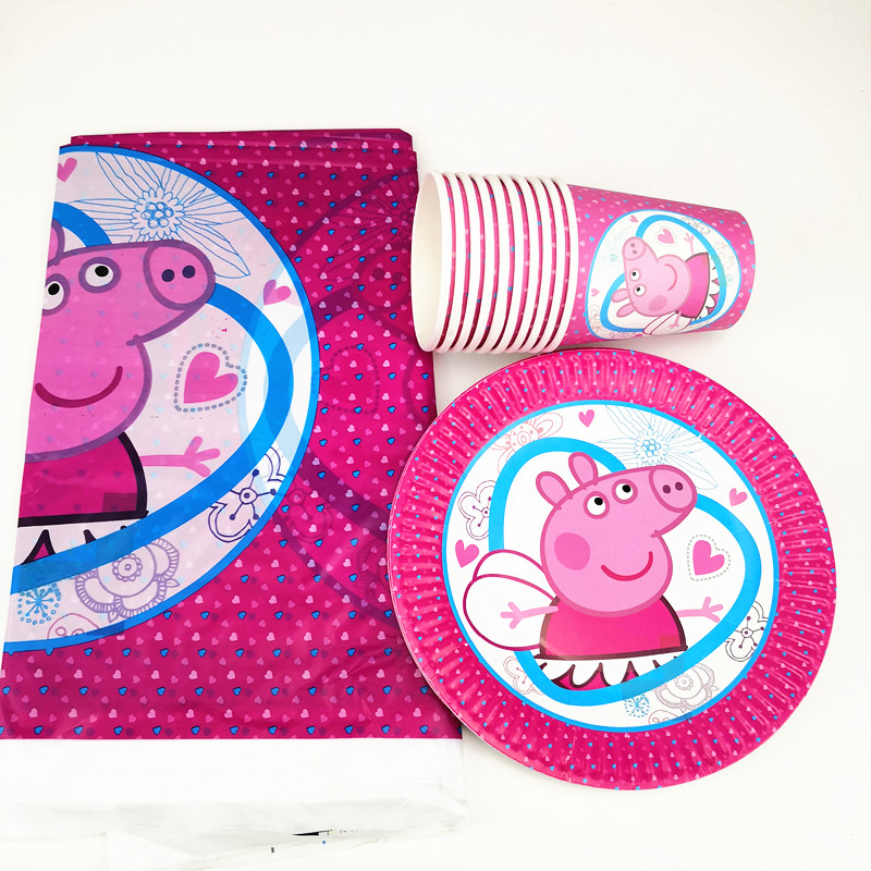 21pcs Cartoon Pink Pig Disposable Party Tableware 1pc TableCloth +10 cups+10 Paper plate Kids Boy Birthday Party Decoration