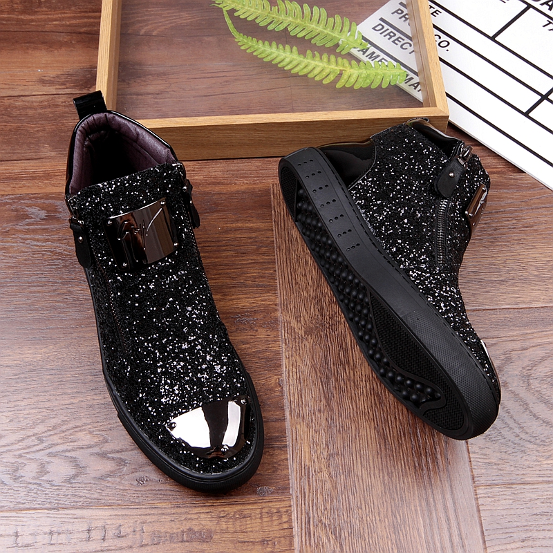 Movechain New Men's Casual Fashion Zipper Outdoor High-Top Shoes Man Slip-On Boots Mens Driving Party Flats 4