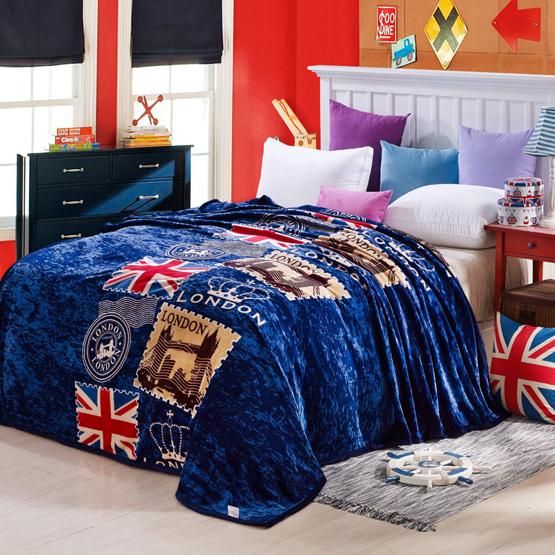 British Style Brand Logo Blue London Flag Coral Fleece Blanket High Quality Throw Blankets Bed Sheet <font><b>Sofa</b></font> Twin Full Queen King