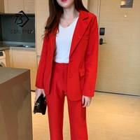 Women's Pants Suit Office Lady Two Pieces Sets Solid Red Elegant Single Breasted Blazers And Full Length Trousers Sales S96404Z