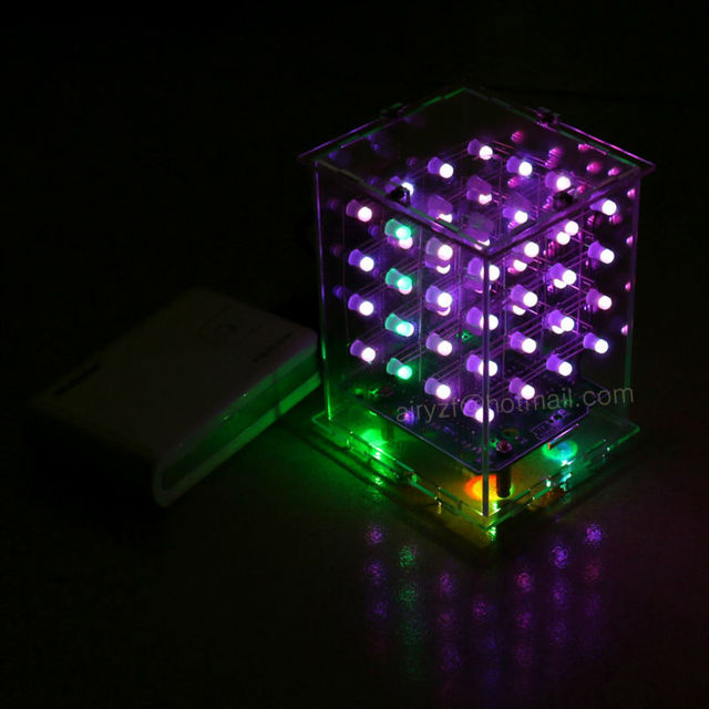 NEW 3D 4X4X4  RGB cubeeds  Full Color LED Light display Electronic DIY Kit  3d4*4*4 for Audrio