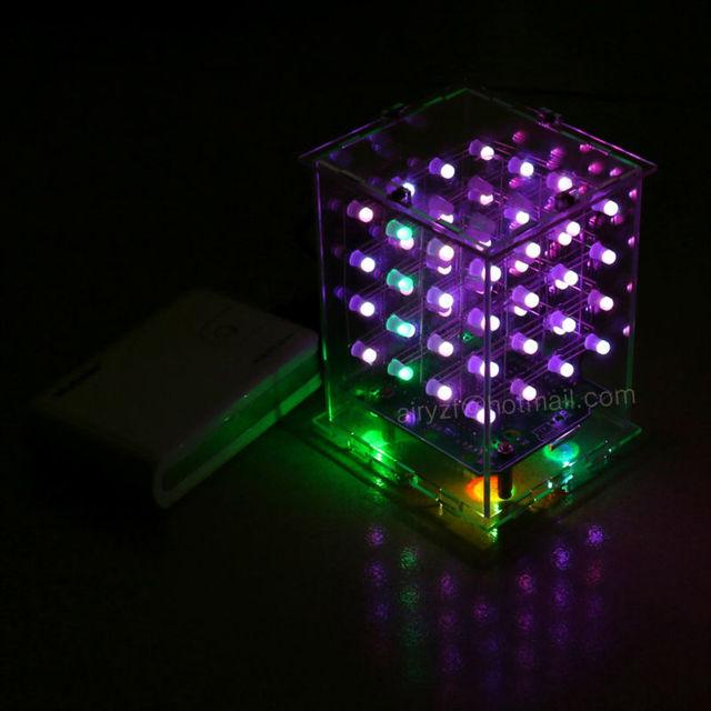 NUEVA 3D 4X4X4 cubeeds RGB A Todo Color pantalla LED De Luz Kit DIY Electrónica 3d4*4*4 para Audrio