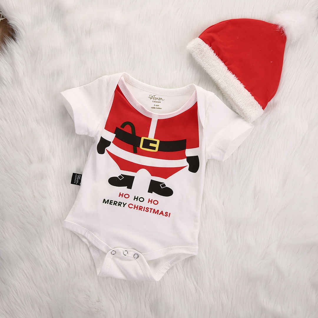 d9191b14aa2 Emmababy 2019 Cute Christmas Clothes Newborn Baby Girl Boy Romper+Hat Outfits  2Pcs Santa Claus