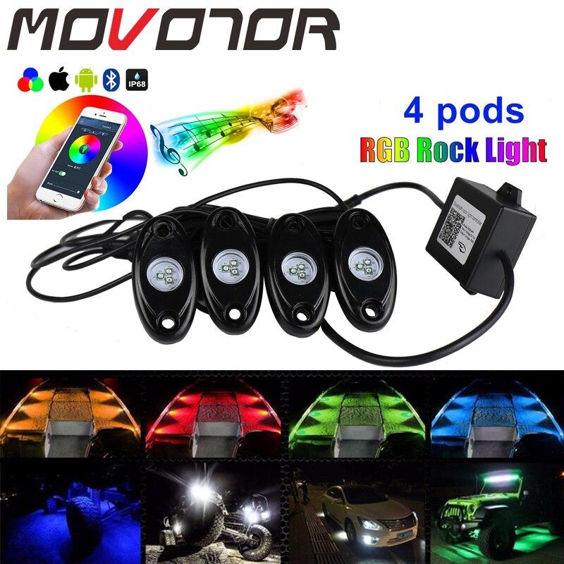 4 стручки, разноцветный RGB рок светильник под водой для автомобилей, грузовиков, лодок, универсальное украшение