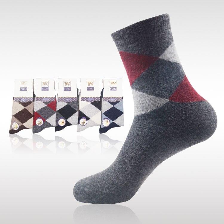 10 шт. = 5 пар Носки высокого качества  новый зимний мужской кролик шерстяные носки поглощения влаги пот большой квадратный дизайн