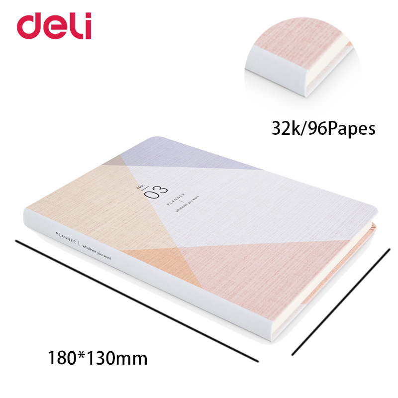 Deli notebook stationery office & school notes planner 2018 schedule sketchbook material escolar bullet journal diary caderno marble a5 notebook blank page sketchbook diy drawing bullet journal daily planner school and office stationery wholesale