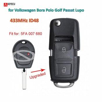 Keyecu inteligente DIY actualizado Flip mando a distancia de coche 433MHz ID48 para Volkswagen Bora Polo Golf Passat Lupo P/N 5FA 007 680