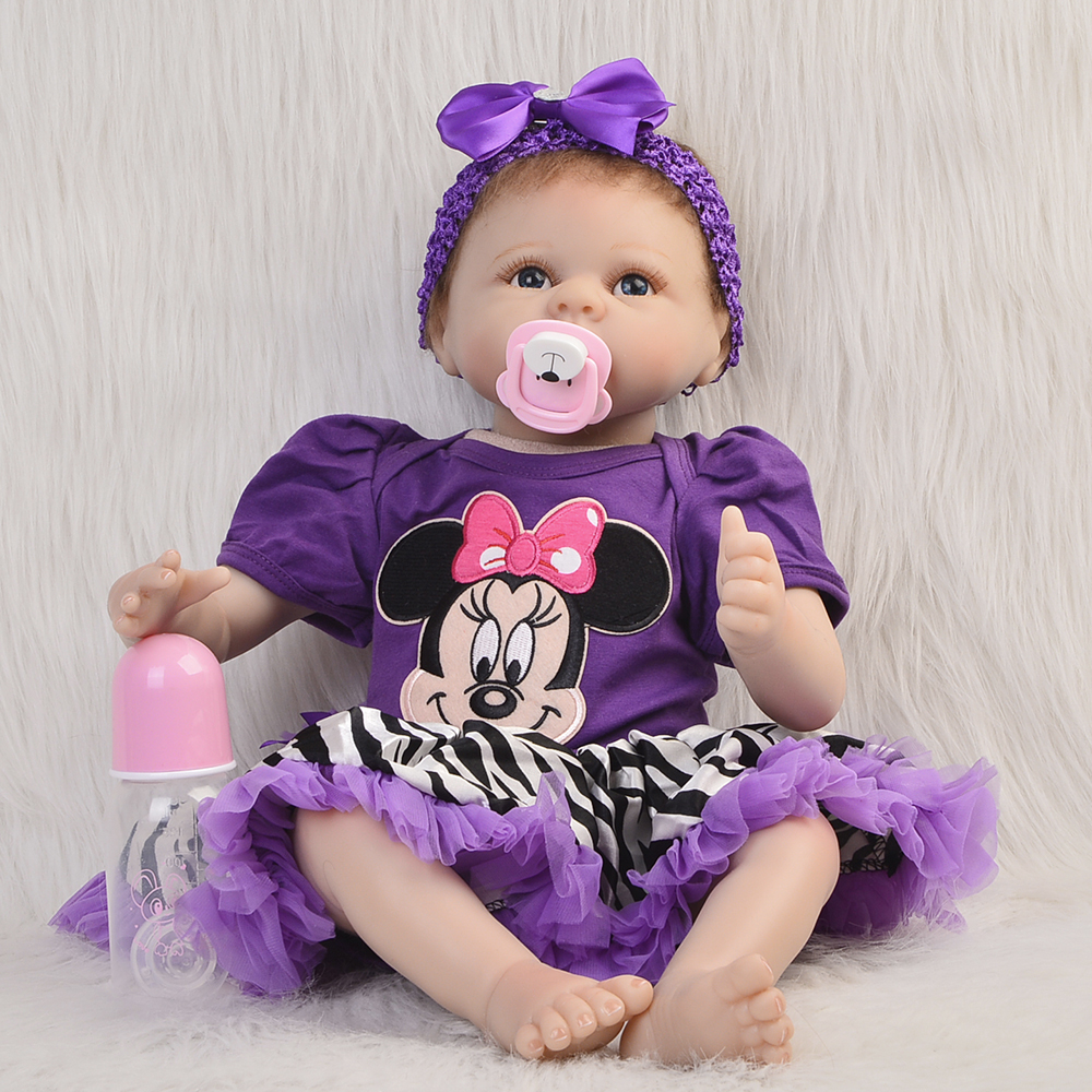 Silicone Reborn Doll Baby 22 Inch Lifelike Newborn Girl Babies Handmade Cloth Body Toy With Purple Dress Kids Birthday Xmas Gift 22 inches soft silicone reborn baby dolls cloth body real looking newborn alive girl babies boneca toy kids birthday xmas gift