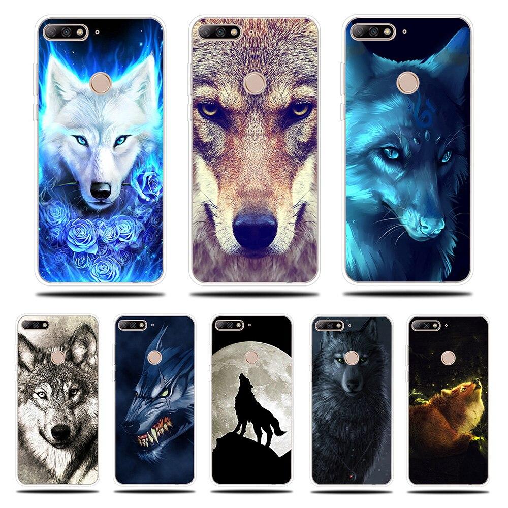Loup sauvage Motif Silicone Téléphone étui pour Huawei Y5 Y6 ii Premier 2017 2018 Housse Pour Huawei Y7 Prime Pro Y9 2018 2019 Housse
