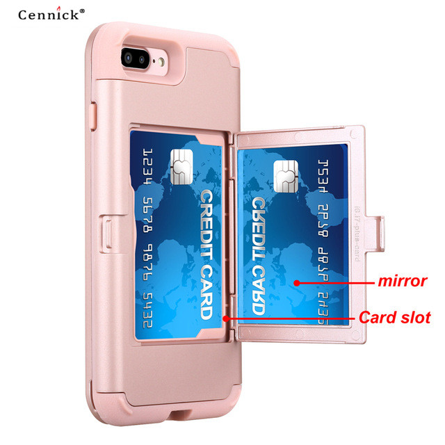 newest 44ec6 fd9b7 US $7.5 |Cennick For iPhone 7 8 plus case With Mirror Double card slot  Shockproof Dual Layer Protection thick TPU+PC 7 8Plus Case Cover-in Fitted  ...