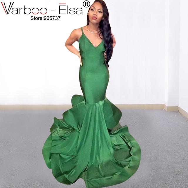 d69e0bc08 VARBOO_ELSA 2019 Menina Verde Sereia Vestidos de Noite Sexy Com Decote Em V  Backless Vestidos De Fiesta Cintas de Espaguete Vestidos de Festa de  Formatura