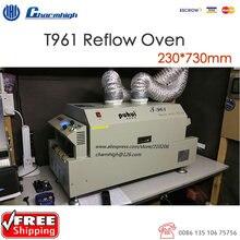 Darmowa wysyłka LED piekarnik Reflow T961 ogrzewanie na podczerwień 230*730mm piec do lutowania Puhui T 961, 220 v, 6 strefa temperatury