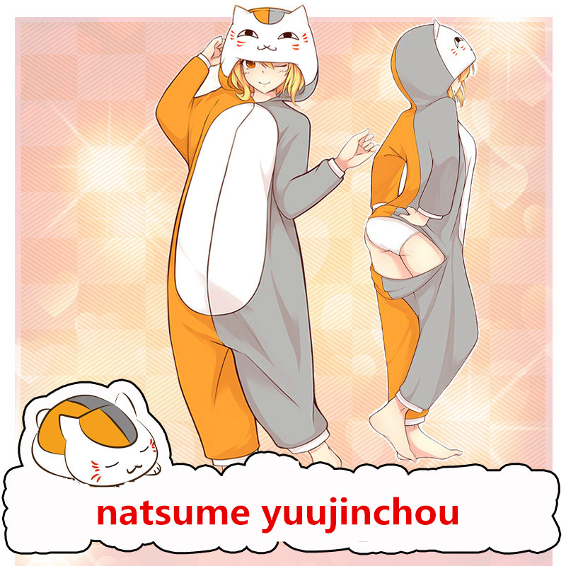 Cartoon Anime Natsume Yuujinchou Madara Cosplay Costumes Unisex Women Girls Cotton Pajamas Bathrobe Jumpsuits Suit