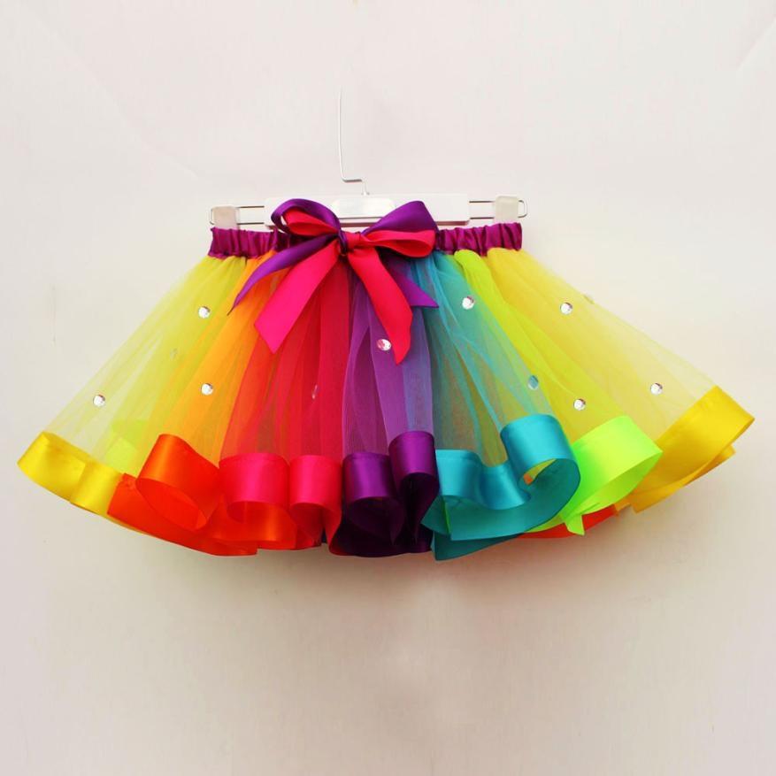 Rainbow Girls Kid Tutu Skirt Tulle Dance Ballet Dress Toddler Rainbow Costume US
