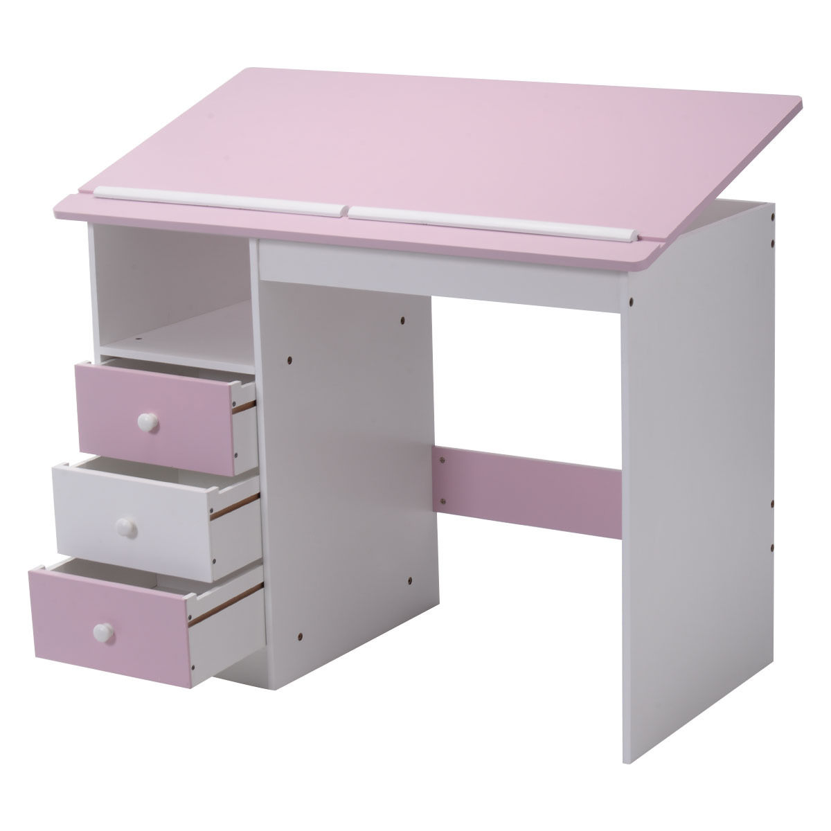 Workstation Furniture Us 109 99 Giantex Adjustable Top Drawing Desk Modern Drafting Table Pink Workstation Furniture With Drawers Hw52647 In Laptop Desks From Furniture