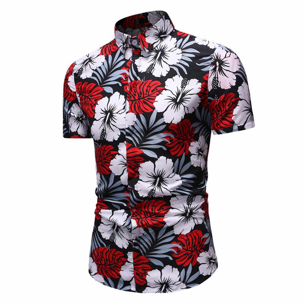 Bluzka w roślinny wzór mężczyźni hawajski drukuj krótka koszula sportowa plaża szybkoschnąca bluzka Top męskie playeras de hombre nowa męska odzież Camisa