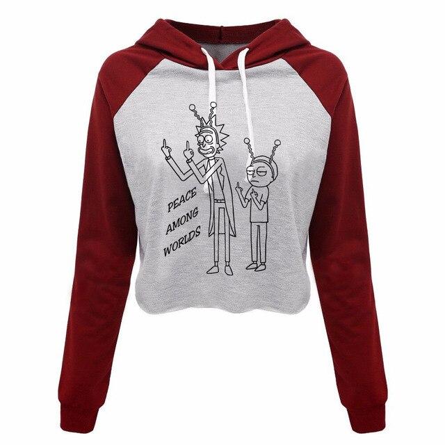 691502c2aee rick and morty Print Women s Crop Top Hoodie Sweatshirts New Fashion Custom Pullovers  Sweatshirt Cropped Long Sleeve Hoodie
