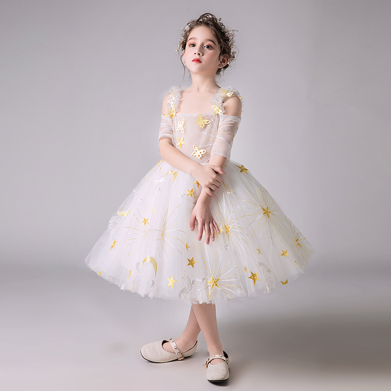 Off the Shoulder Princess Prom Dress Ball Gown Flower Girl Dresses for Wedding Evening Kids Formal Dress Birthday Costume B273 off the shoulder button front dress