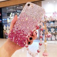 For iPhone 8 8plus Luxury Rhinestone Diamond case for iphone X 6 6S 6Splus 7 7plus Gradient pink Girl gift case Flower Chain