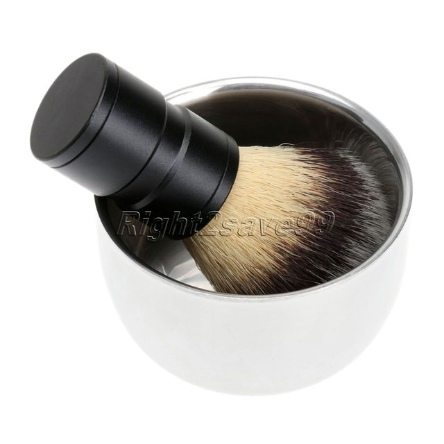 New Salon Shave Shaving Razor Brush With Stainless Steel Metal Shaving Shave Brush Mug Bowl Cup For Men Clearance Beard