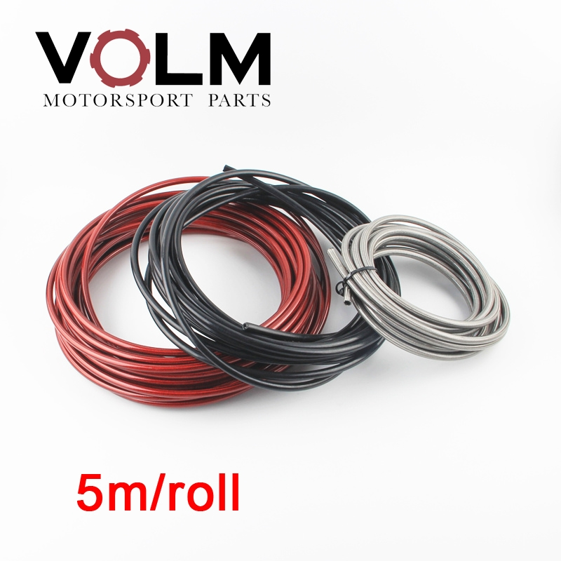 VOLM 5m/lot AN3 Motorcycle Braided Stainless Steel Nylon BRAKE FLUID HYDRAULIC