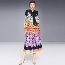 2019 nNew Fashion Women's Dress Retro Floral Print lace Bow Tie Waist Slim Long Sleeve Dress Temperament Elegant contrast trim floral print tie waist dress
