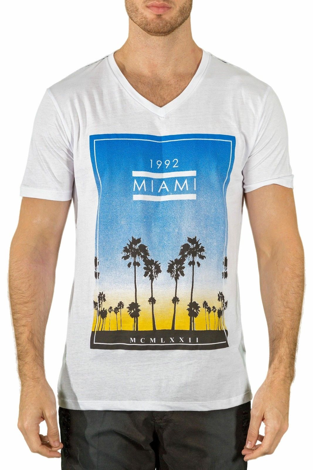 Bespoke moda Men's Fashion Slim fit t-shirt whitemulticolor sunny Miami beach Design Style New Fashion Short Sleeve