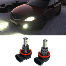 цена на 2x H11 H8 LED Car fog lights bulb White Day Running Lights For mazda 3 5 6 xc-5 cx-7 axela atenza Accessories