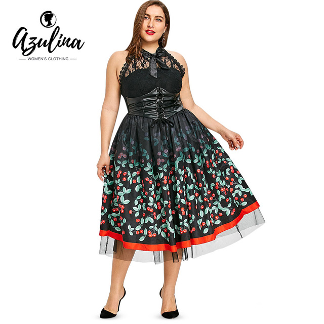 d2efe0b6d AZULINA Plus Size Vintage Cherry Dress Women Dresses Punk Rock Backless  Bowknot Sleeveless Lace Panel Vestidos Big Size Robe 5XL