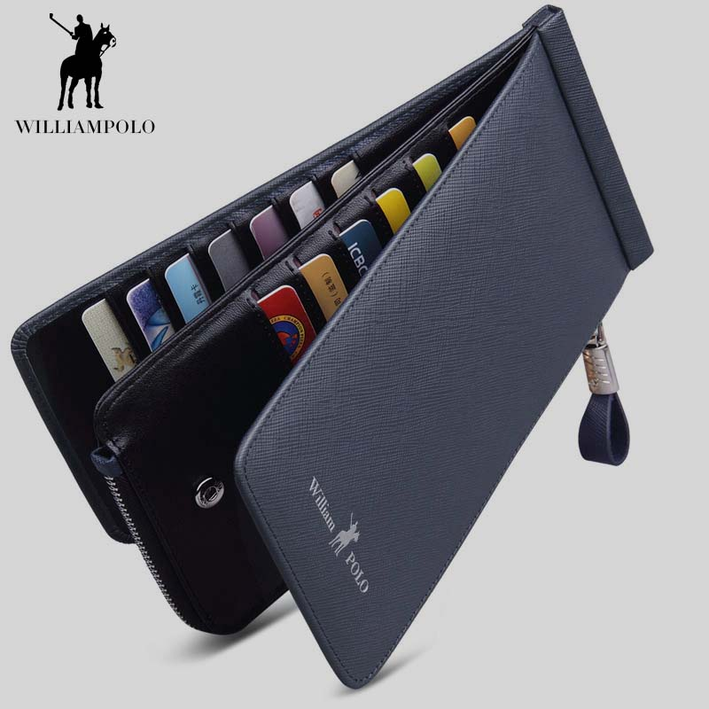 WilliamPOLO Mens Credit Card Holder Wallet Genuine Leather Minimalist Mini Thin Phone Wallet Fashion Zipper Hasp Design