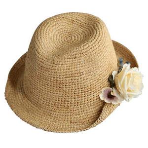 QOPE Hat female summer Raffia flower sun hat straw hat 2b6884b2a60f