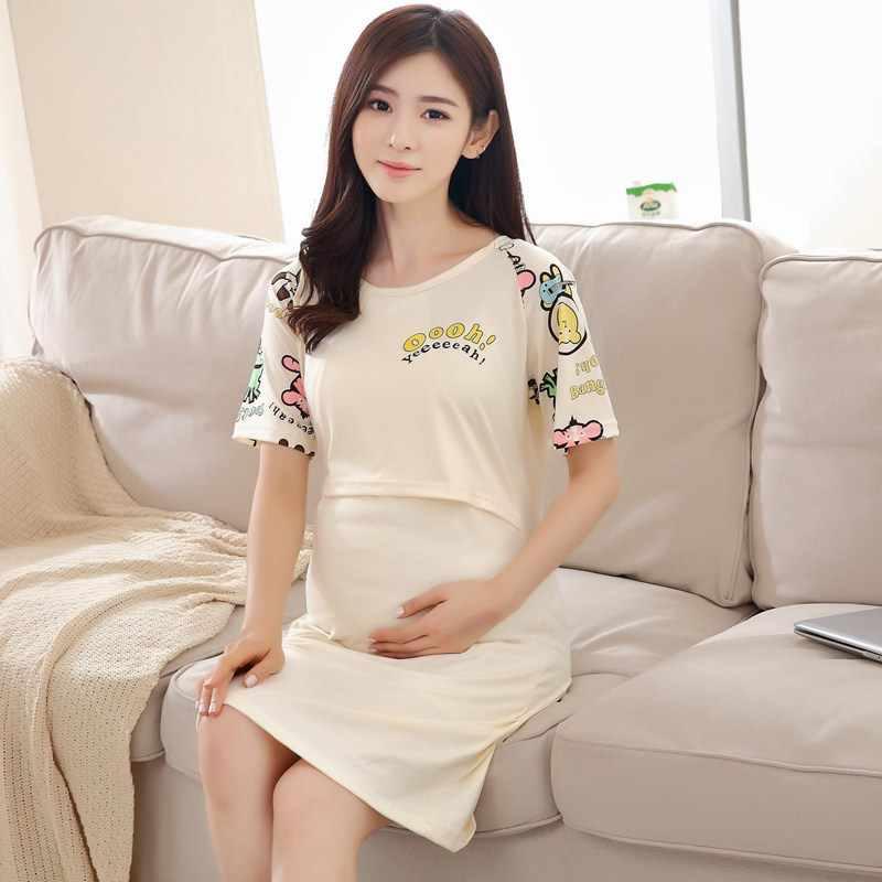 805d82748 ... pijamas de mujer lactancia manga larga embarazadas algodon camison  maternal enfermera premamá ropa pregnant de premama ...