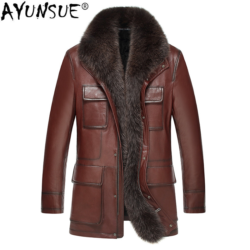 Chaqueta de cuero AYUNSUE Chaqueta de invierno Chaqueta de cuello de piel de zorro para Hombre abrigo de piel de cabra genuina de talla grande Chaqueta Hombre LSY069326 MY1366