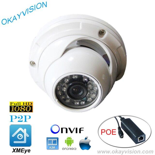 ONVIF IR Night Vision H.264 low level of illumination COMS 2MP Full HD 1080P P2P DC48V POE dome cameras, USE XMEye