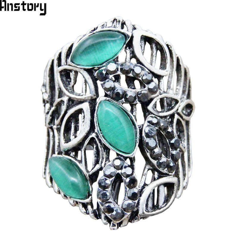 Vintage Opal Leaf Rings Hollow Plant Rhinestone Rings For Women Antique Silver Plated Fashion Jewelry TR632