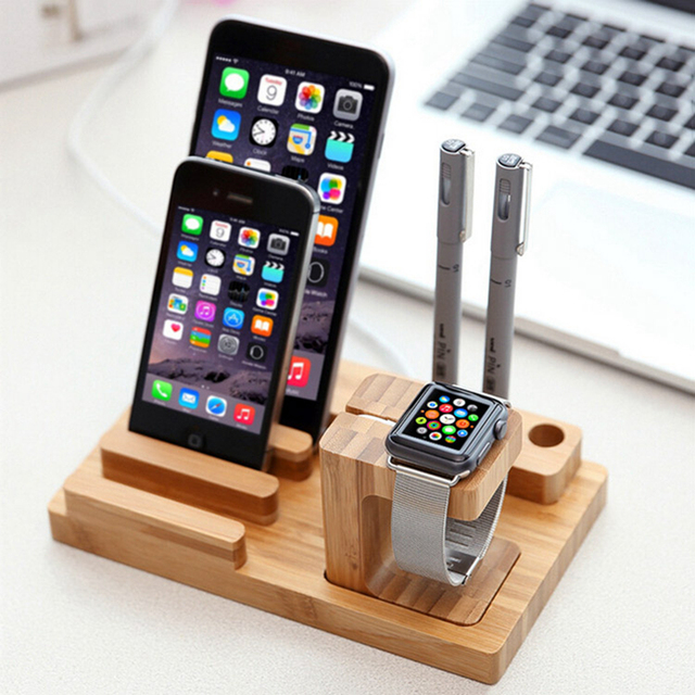 Fashion Wood Tablets Bamboo Stand Stent for i watch iPhone 5s 6s 6splus iPad 2 3 4 5 6 mini4 Samsung S5 S6 edge Note 4 5 Holders