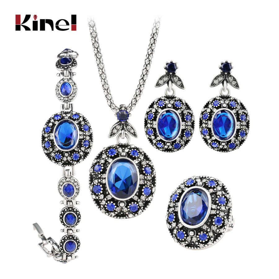 Kinel 4Pcs Vintage Jewelry Sets Antique Silver Blue Pendant Necklace Earring Bracelet And Oval Rings Wedding Party Accessories