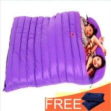Samcamel, спальный мешок с наполнителем из белого утиного пуха для 2 человек, объем 1800 г, водонепроницаемый нейлоновый спальный мешок, двойная зимняя подушка для сна, 2 бесплатные подушки