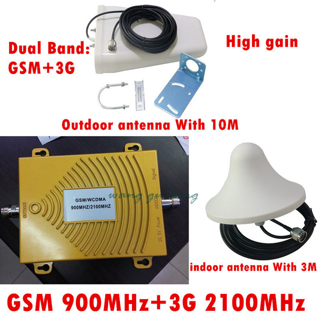 GSM Repetidor 3G Amplificador Repetidor GSM 900 MHz 2100 MHz WCDMA Celular GSM Sinal De telefone Impulsionador Repetidor de Banda Dupla 2G 3G Completo Kit